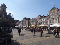 Plaza and shopping/cafes