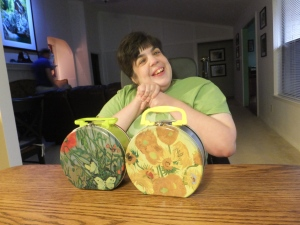 Mimi and her Van Gogh lunch boxes