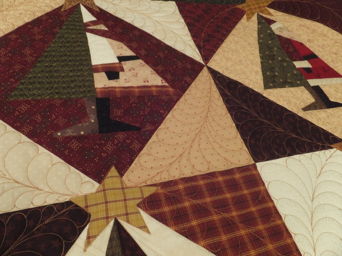 View of custom quilting