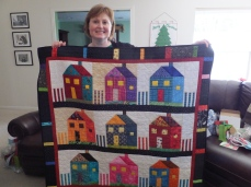 Loretta with her quilt