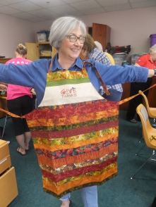 Michelle models an apron!