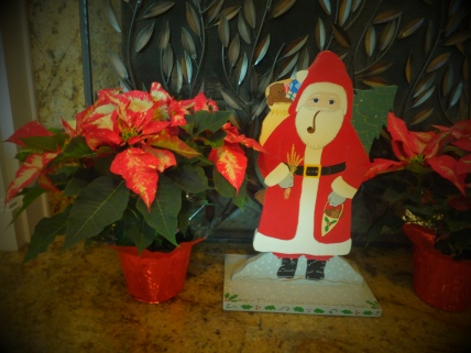 Santa and poinsettia