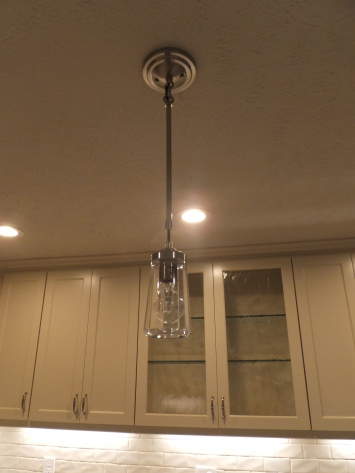 One of two pendant lights