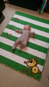 Ben and his monkey quilt
