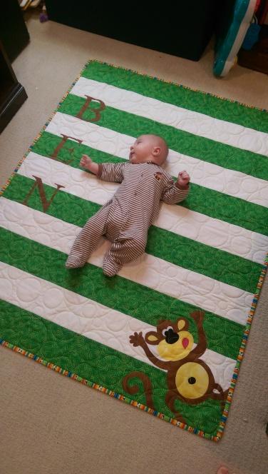 Ben and his monkey quilt
