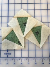 paper pieced leaves on sweet pea block