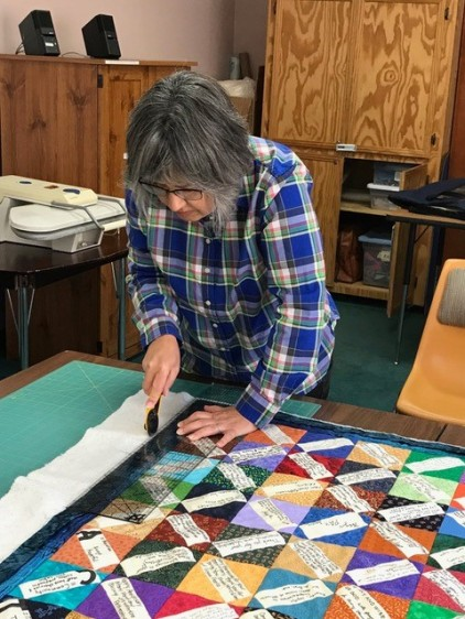 Noreen working on Fr quilt