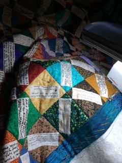 Sally works on the quilt border