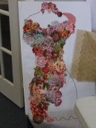 Dress form using Victorian fabrics