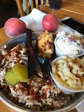 Edleys bbq plate peaches dessert
