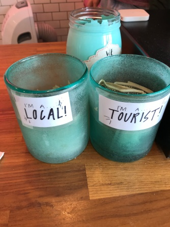 tip jars at donut shop