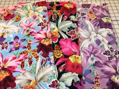 three colorways or orchid fabric